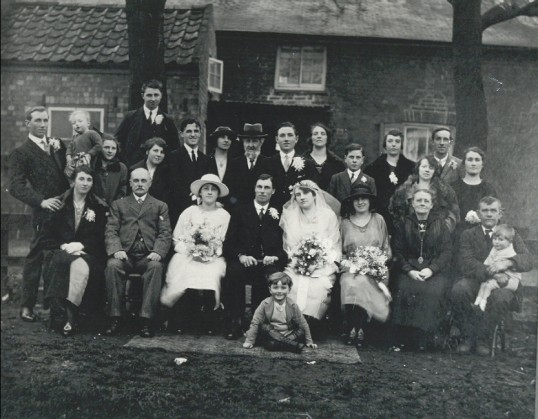Wedding of James Martin Wilkin and Susan Hannah Taylor of Pymoor, 1922.