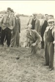 Pymoor Garden Fete 1947. Bowling for a pig.