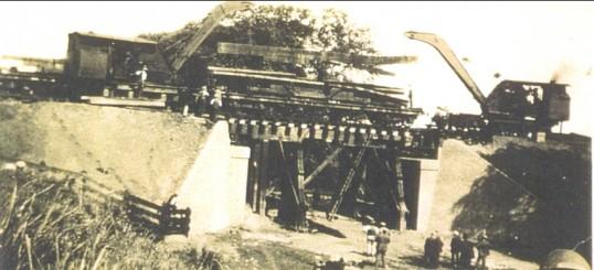 Railway bridge being built at Hundred Foot Bank, Pymoor.