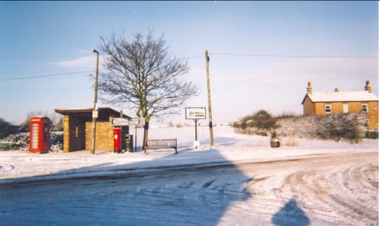 Junction in Pymoor of Main street, Pymoor Lane and Straight Furlong, 2002.