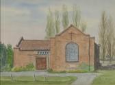 Hand drawn picture, watercolour of Pymoor Methodist Chapel, Main Street, Pymoor.
