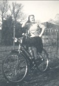Jean Hannah on her bike in Pymoor.