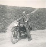Albert Heaps on his BSA Motorbike in Oxlode, circa 1950