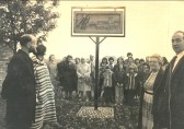 The unveiling of the Pymoor Village Sign 1980.