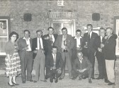 Darts Team outside the Knife and Steel in Main Street, Pymoor (circa 1970).