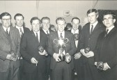 Darts winners in the Pymoor Social Club.. Knife and Steel, Pymoor. 1965