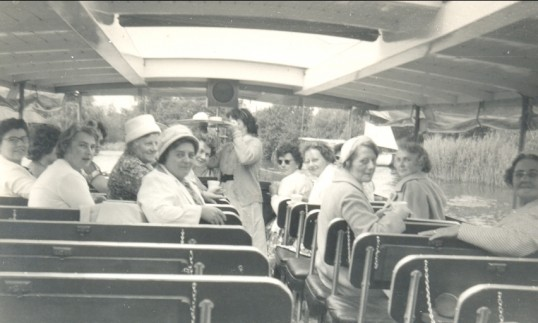 Pymoor W.I. Shopping trip to Norwich. In the afternoon they went to the Broads & had tea at Wroxham, then home via Yarmouth & Cromer.. Pymoor WI Outing