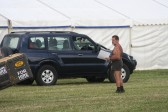 John Pinnells supervises the arrival of exhibitors at the Pymoor Agricultural & Country Show 2010.