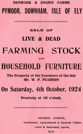 Brochure for the sale of Live & Dead Farming Stock & Household Furniture at Denmark & Engine Farms, Pymoor.