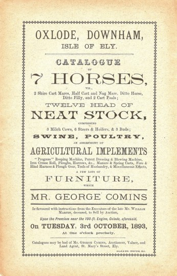 Brochure for the sale of Horses, Neat Stock, Swine, Poultry & Property belonging to William Martin Deceased of Oxlode, near Pymoor, 1893.