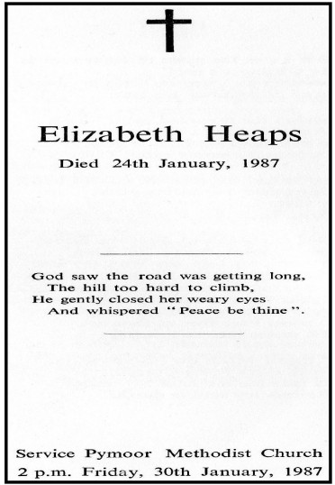 Funeral Sheet for Elizabeth Heaps of Pymoor who passed away on 24th January 1987.