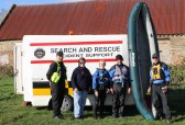 Cynthia Parson with the Cambridge Search & Resue Unit who were on a training exercise on Oxlode Farm, Pymoor.