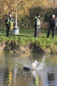 The Cambridge Search & Resue Unit on a training exercise at Oxlode Lakes, Pymoor. Practicing throwing a rescue line.