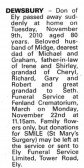 Notice in the Ely Standard announcing the passing of Don Dewsbury, formally of Pymoor.