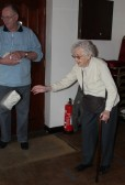 95 years old Joan Saberton playing the 'Bean Bag Game' at the Pymoor Cricket & Social Club Christmas Bazaar 2010.