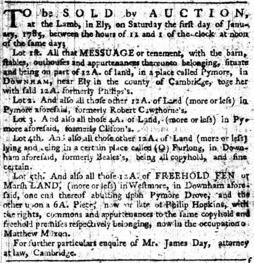 Auction notice in the Cambridge Chronicle for land being sold in Pymoor.