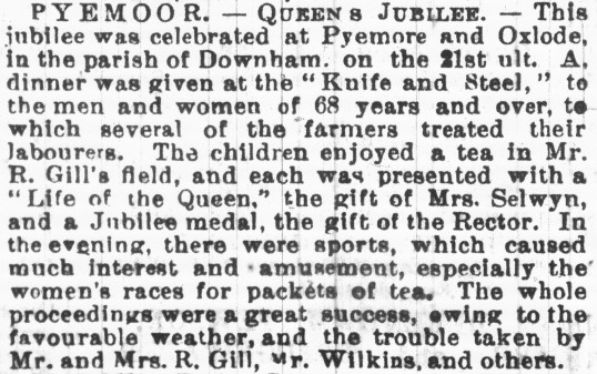 Article in the Cambridgeshire Chronicle about celebrations in Pymoor & Oxlode for Queen Victoria's Golden Jubilee.