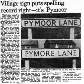 Article in the Cambridge Evening News about the spelling of the Pymoor village name.