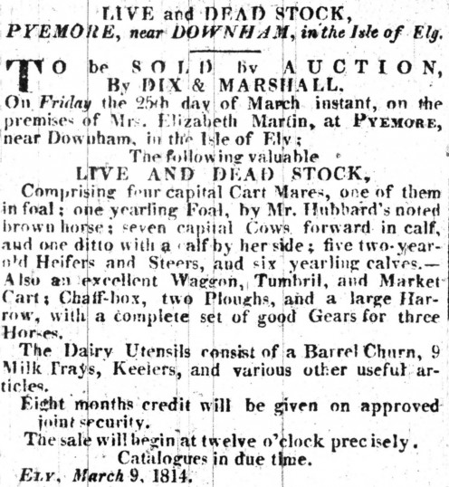 Notice in the Cambridge Chronicle of a Sale by Auction on the premises of Mrs Elizabeth Martin at Pymoor, 1814.