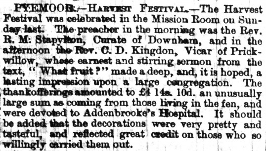 Article in the Cambridge Chronicle about the Harvest Festival  celebrated in the Mission Room in Pymoor 1890.