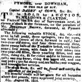 A notice in the Cambridge Chronicle of a Sale by Auction to be held on the premises of Jonathan Brown, deceased at Pymoor.