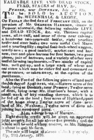 Notice in the Cambridge Chronicle of a Sale by Auction to be held on the premises of Granger Harrison in Pymoor.