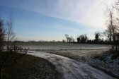 A view along the frozen track by Oxlode Fishing Lakes, Oxlode, Pymoor.