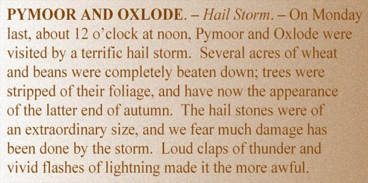 Article in the Cambridge Independent Press about a terrific Hail Storm in Pymoor & Oxlode that caused much damage to crops. 1852