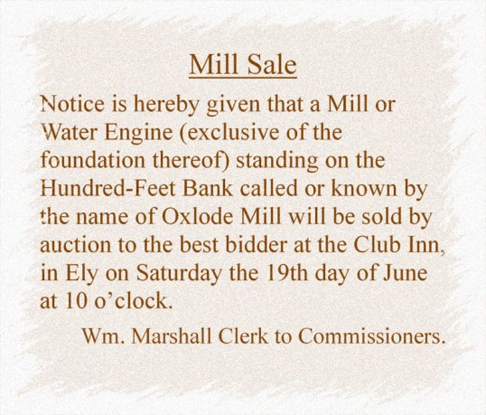 Extract from the Cambridge Chronicle dated 5th June 1790 about the sale of Oxlode Mill, Oxlode, Pymoor.