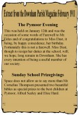 Extract from the Downham Parish Magazine dated February 1911 about the Pymoor Evening and School Prizegiving.