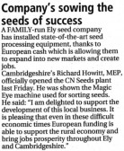 Article in the Ely Standard about CN Seeds of Pymoor, 2011.