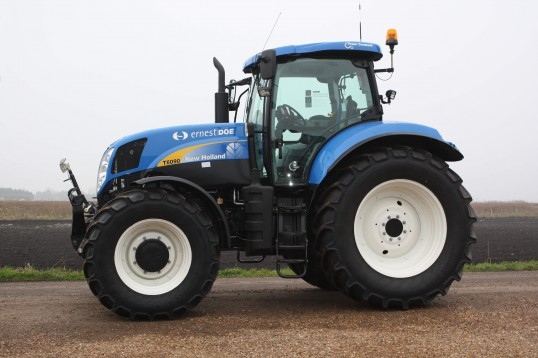 A T6090 New Holland tractor in Pymoor, 2011.