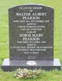 Memorial in Little Downham Graveyard to Walter Albert Pearson and his wife Doris Mary Pearson of Pymoor.