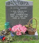 Memorial in Little Downham Graveyard to Eric Saberton of Pymoor who passed away on 20th June 1982 aged 63 years.
