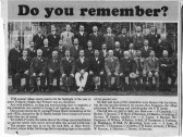 Article from the Cambridgeshire Evening News showing the Pymoor Sports Committee outside Mr George Darby's home in Pymoor Lane, Pymoor, 1922.