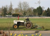 Michael Saberton, cutting the field at the Pymoor Cricket & Social Club, Pymoor Lane, Pymoor.