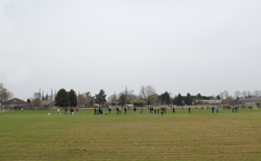 A Littleport Town Youth Team play their home football matches on Sunday mornings on the Pymoor Cricket Club Field, Pymoor, 2011.