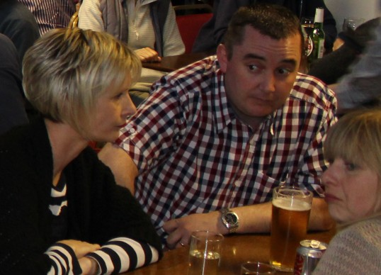 Hmm.. That's a tough question!  Becky & Mark Taylor and Tracy Butcher at Gary Palmer's Charity Quiz at the Pymoor Social Club, Pymoor 2011.