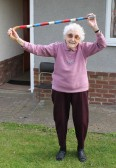 'ere we go, 'ere we go, 'ere we go'. 95 years old Joan Saberton gets in the mood for the Royal Wedding celebrations in Pymoor 2011.