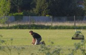 Steve Saberton, preparing the wicket for Pymoor CC's first match of the 2011 season.