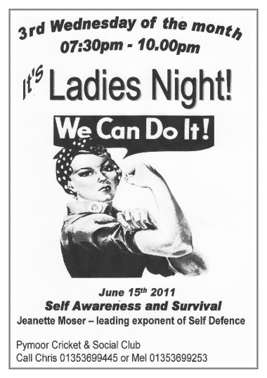 Jeanette Moser gave a talk on Self Awareness & Survival at the Pymoor Cricket & Social Club Ladies Night on Wed. 15th June 2011.