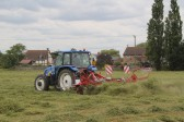 Turning the hay on Graham Lark's field, off Pymoor Lane, in preparation for the Pymoor Show 2011.