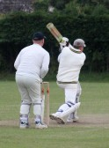 With 3 balls left & 5 runs needed, Pymoor CC captain Steve Saberton hits a 6 to secure victory in their Kirkland Cup match against Little Downham, 2011.