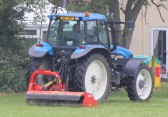 Parish Councillor Basil Taylor uses his tractor to tidy up the area around the sports field at the Pymoor Cricket Club, Pymoor Lane, Pymoor.