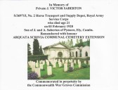 Commonwealth War Graves Commission certificate in memory of Private J. Victor Saberton of Pymoor.