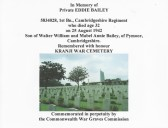 Commonwealth War Graves Commission certificate in memory of Private Eddie Bailey of Pymoor.