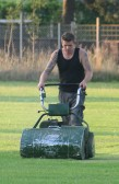 Steve Saberton cutting the cricket square in readiness for Pymoor CC's next home match on the Sports field in Pymoor Lane, Pymoor.