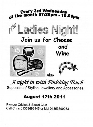 The Ladies of Pymoor enjoyed a Cheese & Wine & Jewellery & accessory evening at the Pymoor Cricket & Social Club, Pymoor Lane, Pymoor 2011.