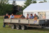 Relaxing round the trailer after putting up the Pymoor Social Club tent in readiness for the Pymoor Show 2011
