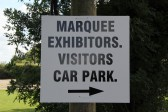 A direction sign for the Pymoor Show 2011